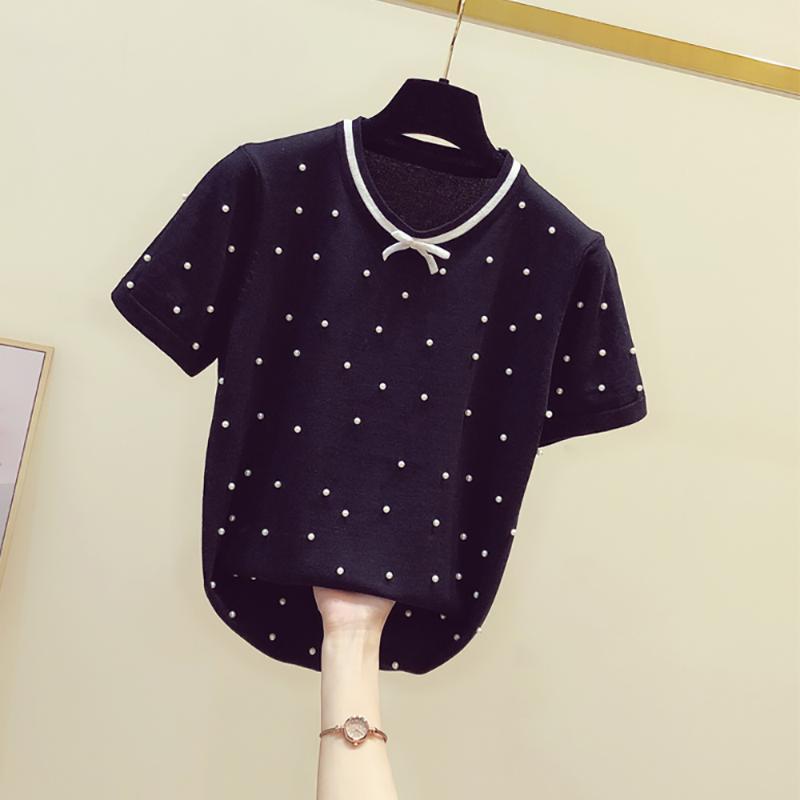 Sommer Perlen Perlen Kurzarm T-Shirt Frauen Koreanische Mode Eis Seide Patchwork Schleife dünne dünne Oberteile Oansatz Black S-XL Kleidung Frauen T-SH