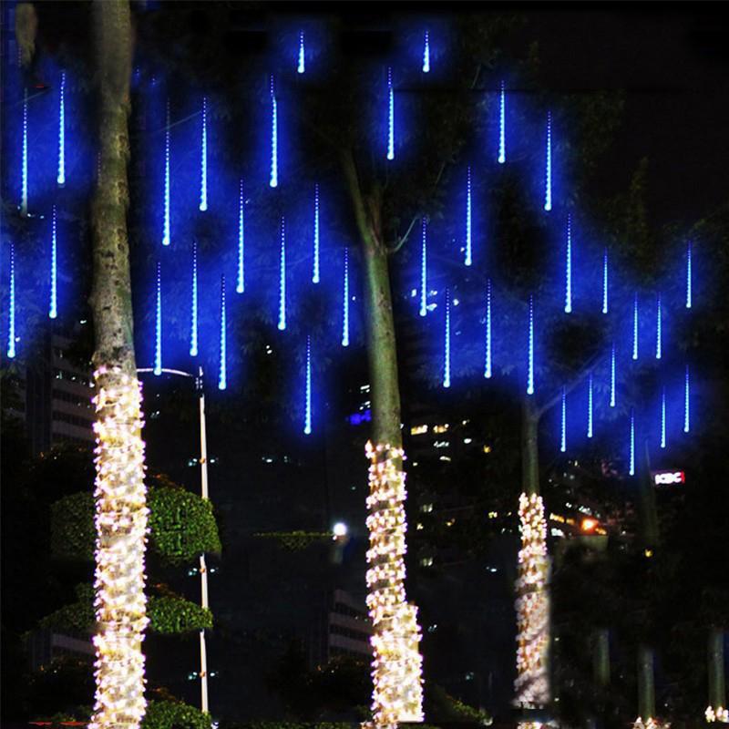 Solar Meteor Ducha Cuerdas de luz de lluvia al aire libre, luces blancas 50 cm 8 Tubos 288 LED Caída de gotas de lluvia Cadena de hadas Iluminación para el árbol de vacaciones Porche Crestech