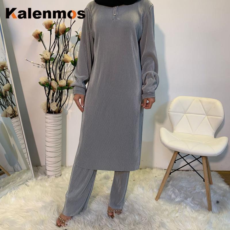 Duas peças Sets Mulheres Muçulmanas Tops e Calças Dubai Árabe Ramadan Abaya Kaftan Islam Turkish Maxi Hijab Robe Roupas Islâmicas 2021 Vestido