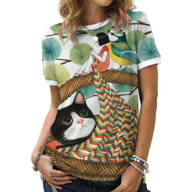 Donne Cartoon Cat Stampa Retro Tshirt Tshirt Summer Manica Corta Top femminile grande dimensione allentata T-shirt casual vendita vintage Top 3XL donne da donna