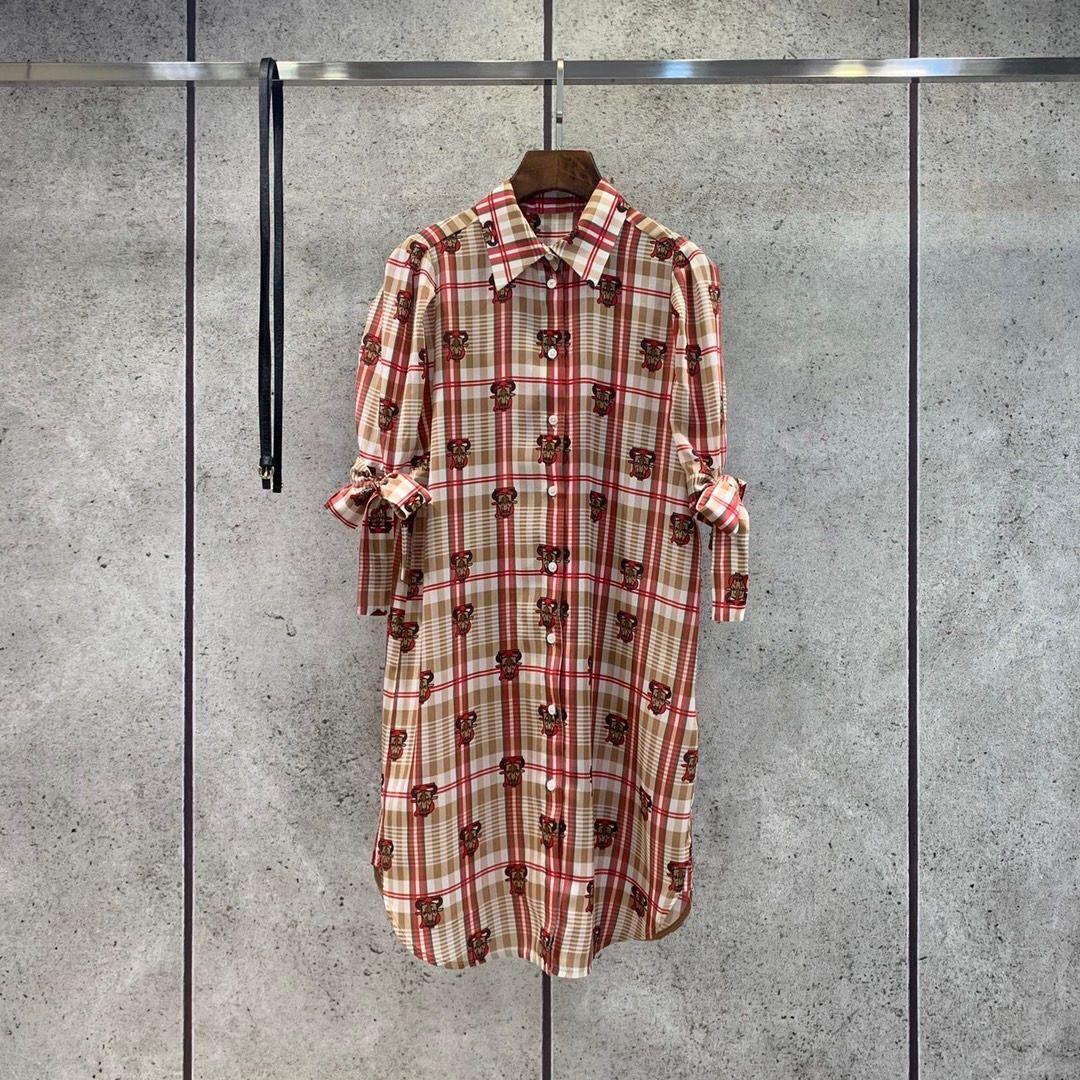 2021 1/2 Sleeve Lapel Neck Print Fashion Milan Runway Dress Designer Dress Brand Same Style Dress 0318-1