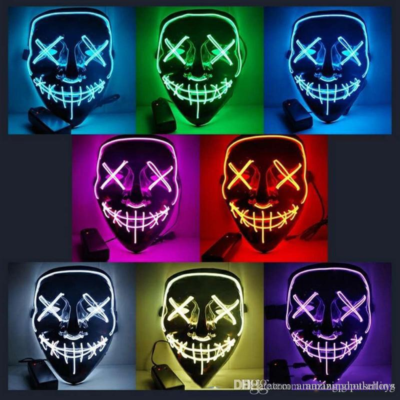 EL Wire Ghost Mask LED Purge Mask Glowing LED Light Up Funny Mask Slit Mouth for Festival Halloween Costume Cosplay Party Supplies