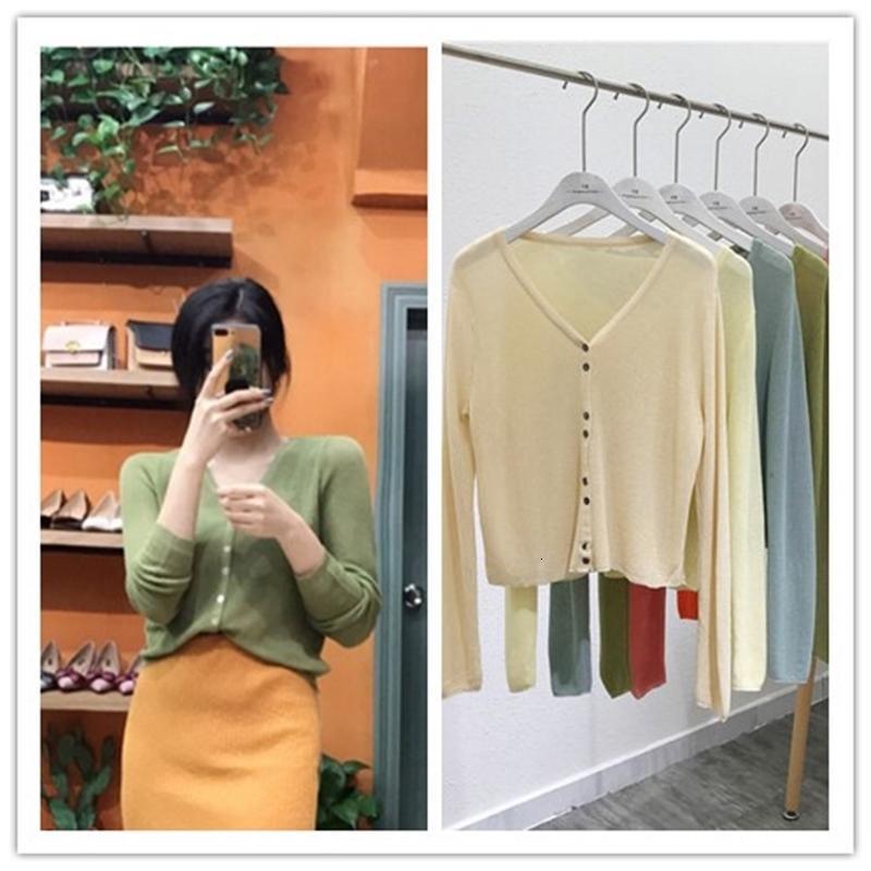 V-pescoço 9179 # 2020 Moda verão breasted multicolor t-shirt Cardigan Sunscreen Camisa Mulheres curtas