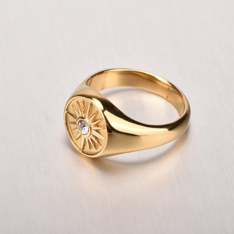 Ring Single Zircon Tournesol 2021 en acier titane fermé