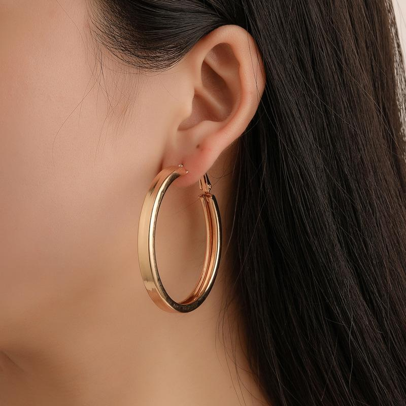 Hoop & Huggie Fashion Big Earrings For Women Gold Silver Colour Wide Exaggerated Hollow Punk Cool Ear Rings 2021 Trend Jewelry On