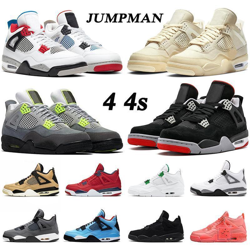 2020 4s Jumpman uomini stivali scarpe vela neon luce beige sneakers viola iv nero cat allevamento fresco grigio fedele sneakers blu fedeli