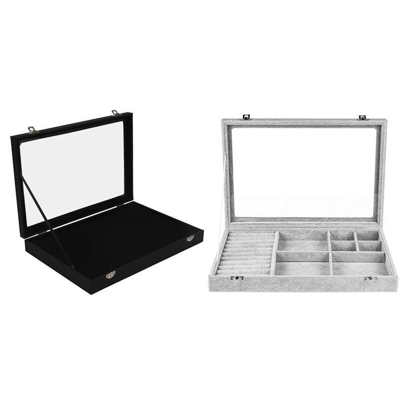 غطاء زجاجي أسود 100 فتحة حلق حلقة مجوهرات عرض تخزين مربع مع الحقائب المخملية القابلة للإزالة الحقائب المجوهرات الكبيرة، الحقائب