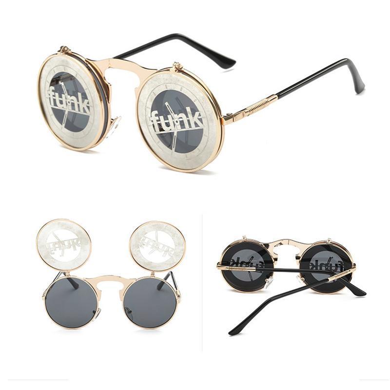 Lunettes de soleil Round Steampunk Round Round Round Round Steampunk pour femmes hommes personnalisés Cool Driving Sports UV400 de Sol Shades Eyewear 2021