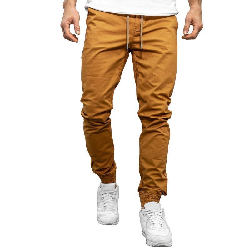 Erkek Pantolon Moda Erkek Rahat Spor Kahverengi Yüksek Bel Vücut Geliştirme Cep Cilt Tam Boy Spor Pantolon Sweatpants # G30