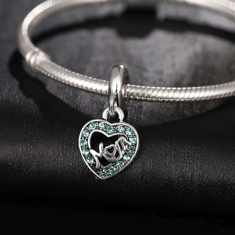 Giornata della mamma gioielli cristallo strass rhinestone mamma perline fascino argento grande foro allentato distanziale artigianale perline pendente fit braccialetto per ebreo