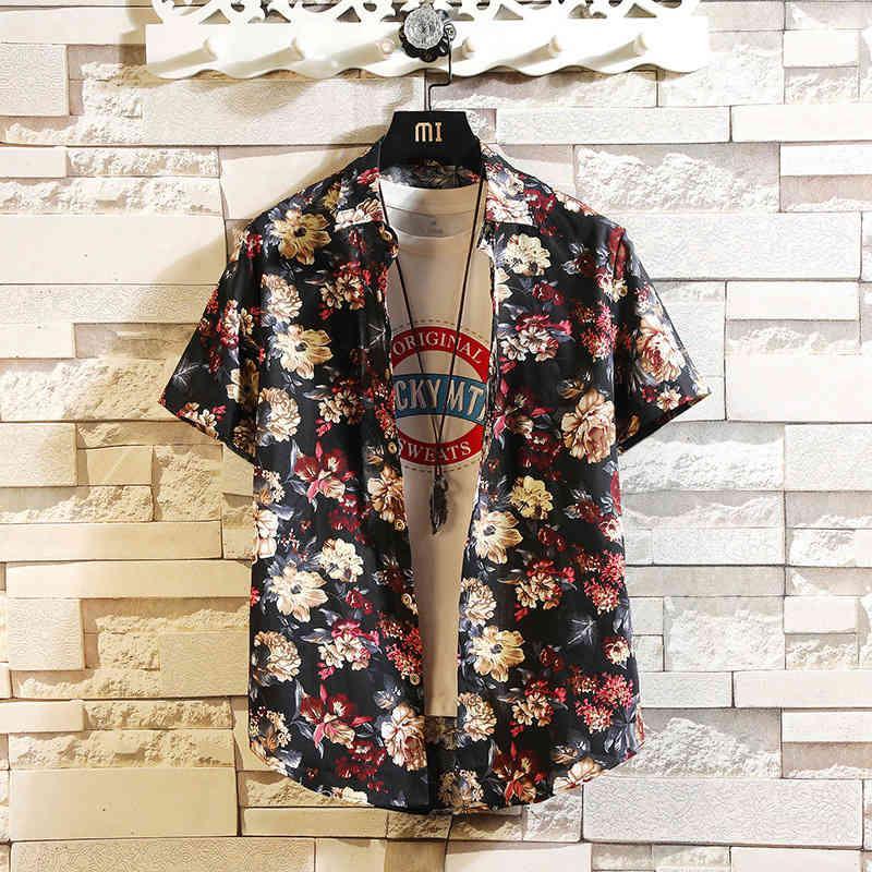 Novo Verão Slim Floral Manga Curta Casual Camisa