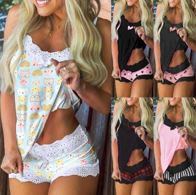 Женщины Pajama костюм дизайнер печатный домашний костюм подвеска без рукавов топ шорты две части набор леди повседневная плюс размер одежды A001