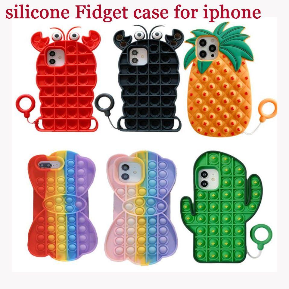 Fidget Case Unique 3D Decompression Phone Cases For Iphone 12 Mini Pro 11 XR XS MAX X 10 8 7 Plus Push Soft Silicone Rainbow Fashion Cellphone Back Skin Mobile Cover