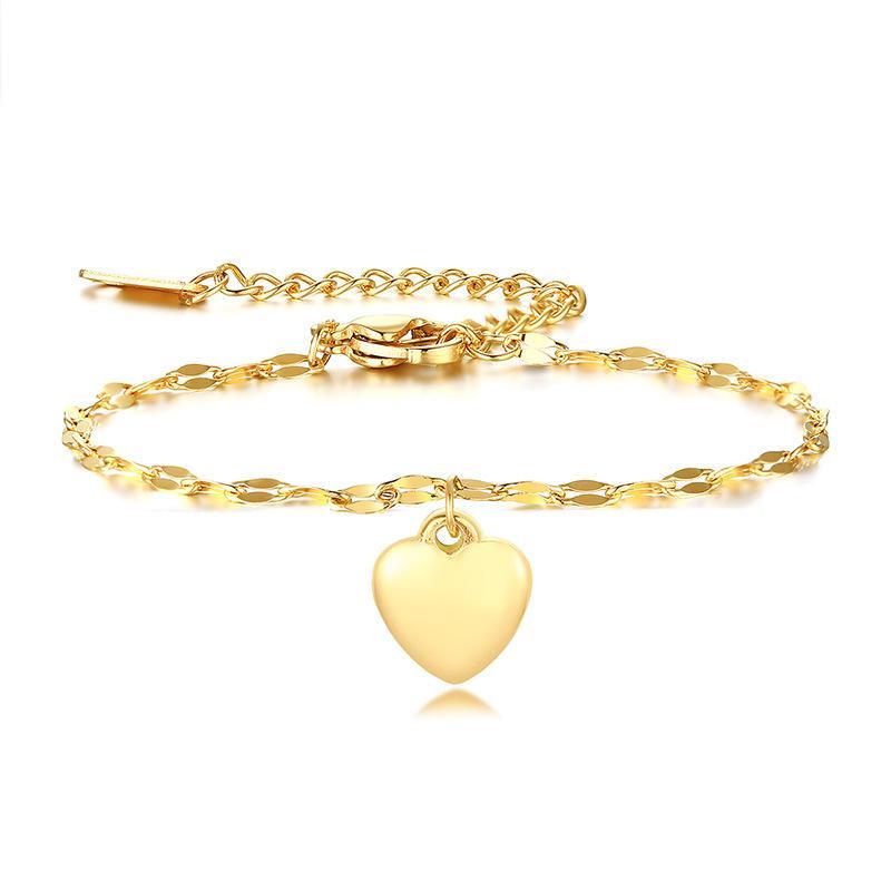 Latest Heart Charm Bracelet For Women Female Ankle Bracelets Elegant Gold Tone Stainless Steel Lady Party Jewelry