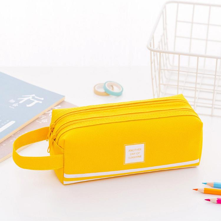 High Capacity Pen Bag Durable Pen Case With Handle Portable Double Layer Stationery Storage Bag (6 Colors) GGA4303