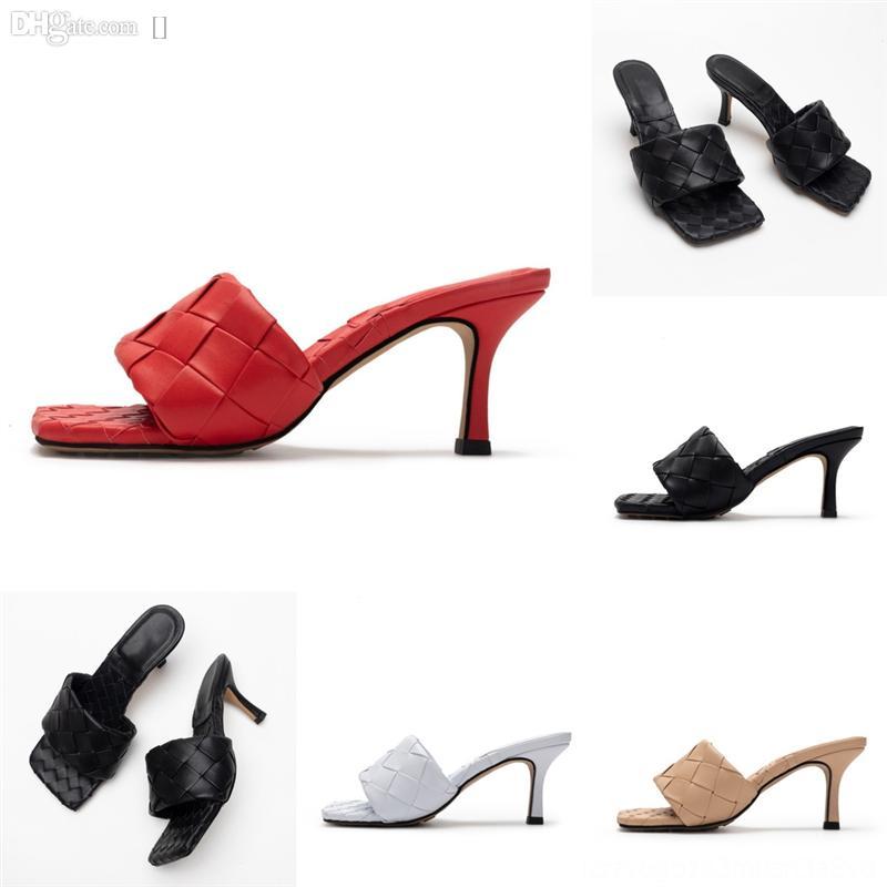 Vyxml Seksi Düz Slaytlar Lido Sandalet Dokuma Kadın Terlik Kaliteli Katır Kare Bayanlar Düğün Yüksek Terlik Ayakkabı Lüks Elbise Ayakkabı Üst