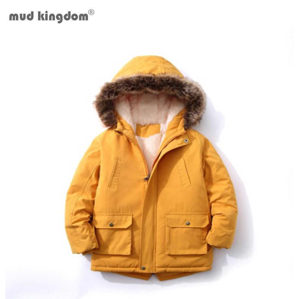 Mudkingdom 소년 후드 코트 가을 겨울 간단한 패션 어린이 겉옷 소년 긴 소매 두꺼운 따뜻한 가짜 모피 자켓 Q0827