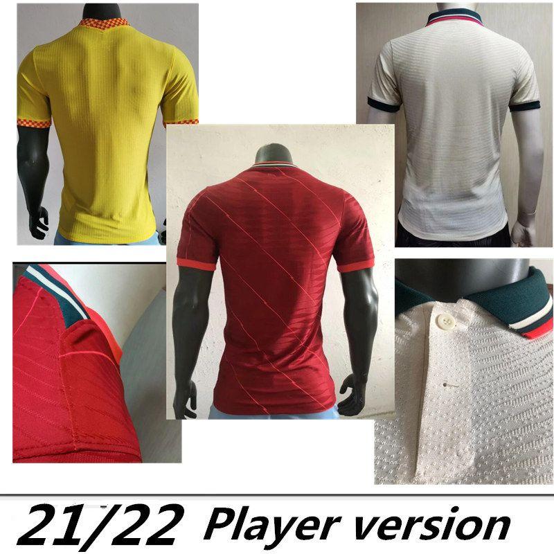 Oyuncu versiyonu ev kırmızı uzakta beyaz polo üçüncü sarı top Tayland Mohamed kaleci futbol gömlek 21/22 2022 2021