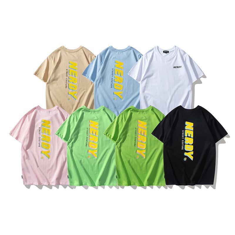 2021 Yaz Gelgit Marka Nerdy T-Shirt Mektup Baskı Rahat Çok Renkli Yuvarlak Boyun Erkekler Ve Kadınlar Çiftler Kısa Kollu T Gömlek