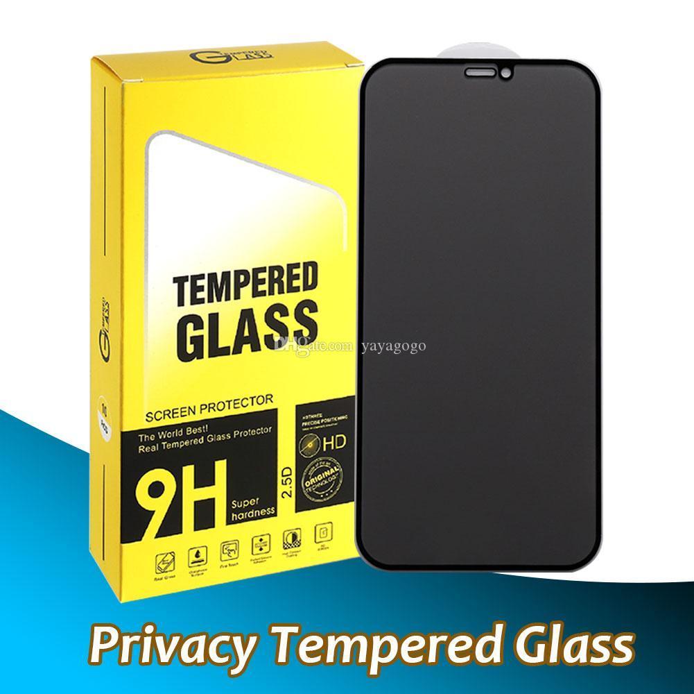 Screen Protector Privatsphäre Temperiertes Glas für iPhone 12 Mini 11 PRO MAX XR XS 7 8 PLUS Anti-Spion Full Cover 9D-Protektoren mit Pacakge Free DHL