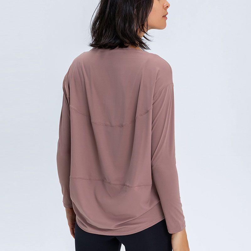 L-88 moldando manga longa camiseta mulheres yoga esportes tops senhora menina fitness shirt terno super macio relaxado apto outono e inverno top para em movimento