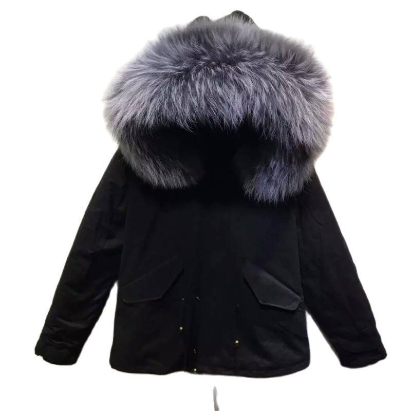 Black Parka Shell Grey Fur Jacket Ladies Winter Wear Down For Mr And Mrs Women's & Faux