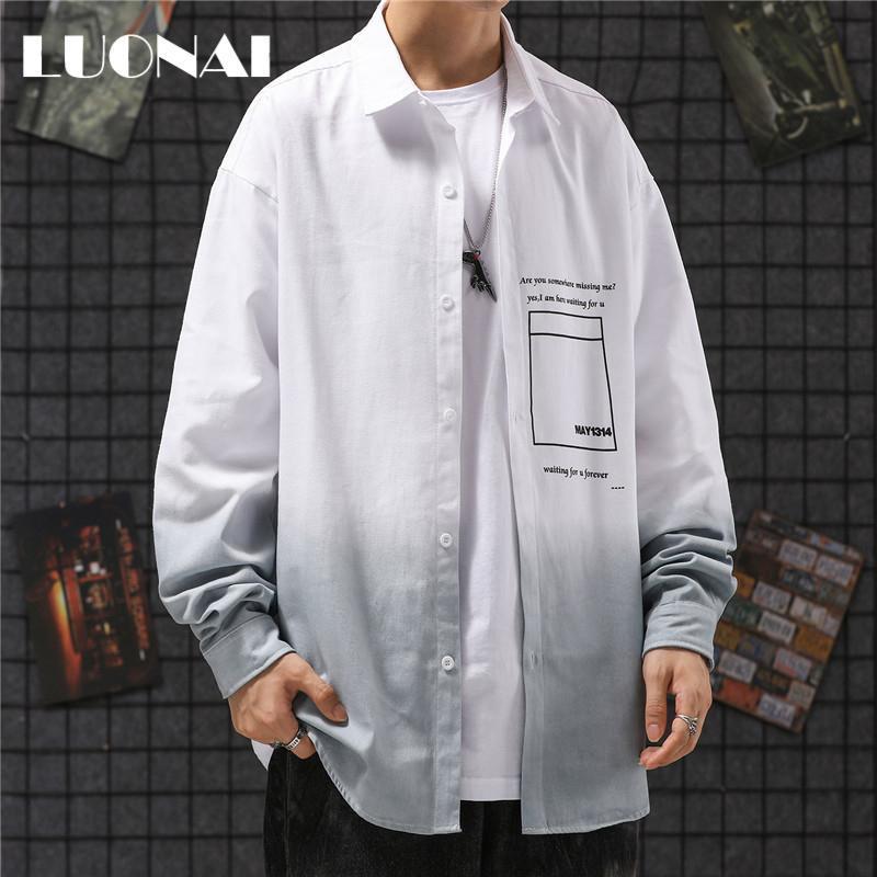 그라디언트 남성 캐주얼 긴 소매 셔츠 봄과 가을 패션 트렌드 잘 생긴 Camisas 드 Hombre 남성 의류 BC50CS 셔츠