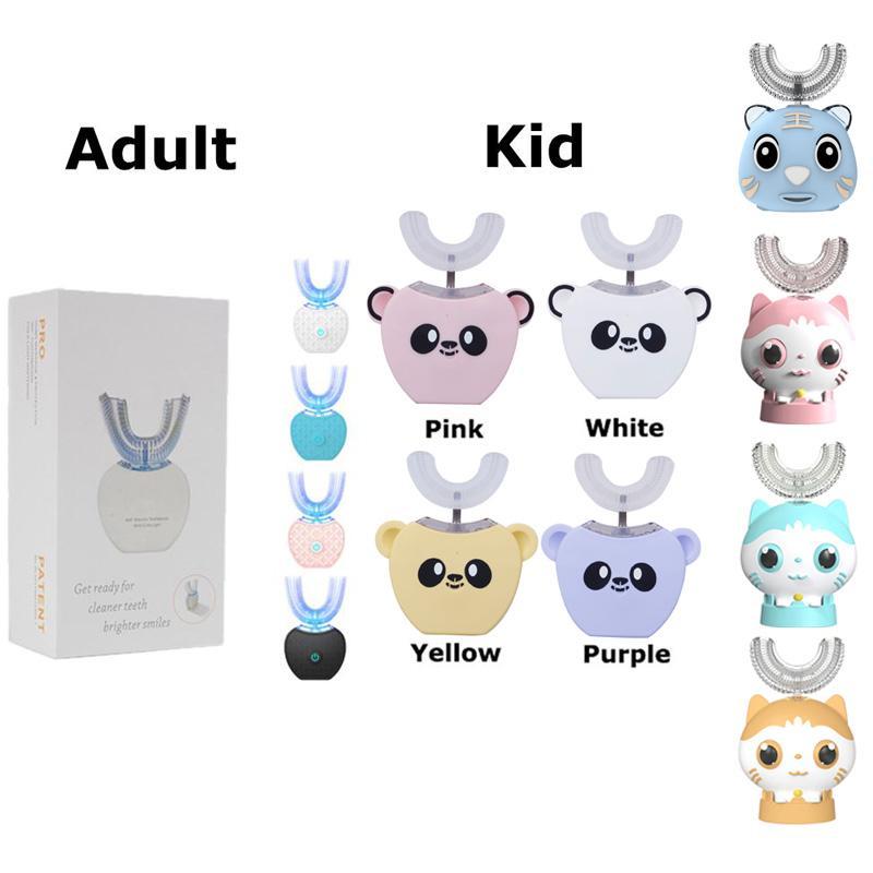360 grados Automático automático Cepillo de dientes eléctrico recargable Sonic Dental USB Silicona Cepillo de Silicona Cabezales Cuidado Smart U Tipo para niños adultos