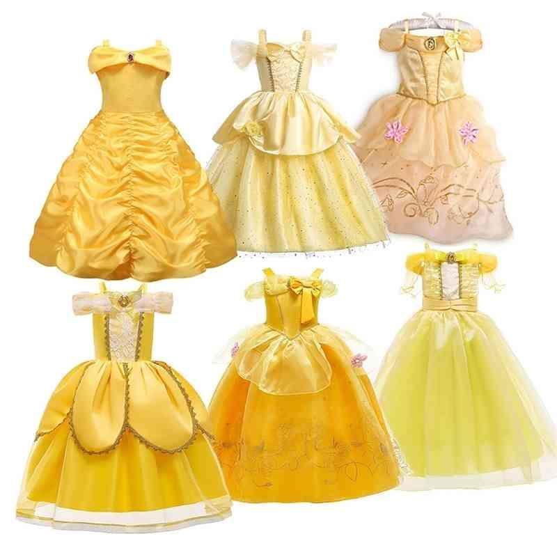 Niños princesa traje niña belle vestido carnaval fiesta ropa niños halloween fiesta de cumpleaños vestido de vestido 3 5 6 8 10 años 210322