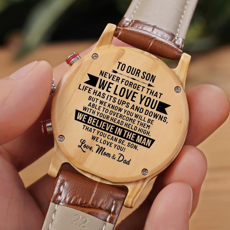 Wristwatches Dad And Mom To My Son-Fashion Automatic Quartz Men Watch Engravd Luxury WristWatch Birthday Graduation Gifts