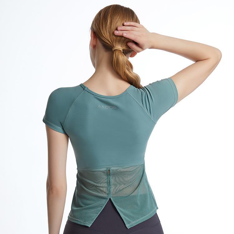 اللولو نفس اليوغا البدلة قصيرة الأكمام أعلى جولة الرقبة ضئيلة الأزياء مثير اللياقة البدنية البدلة الرياضية تي شيرت مع البرازيلي