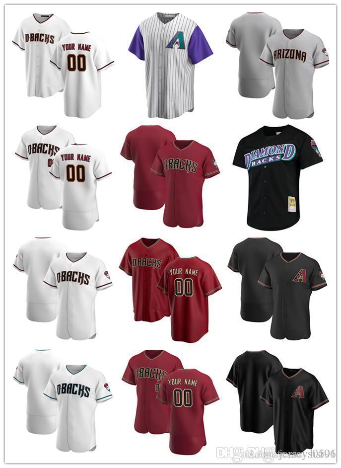 Jersey Personalizzato Mens Donne giovaniArizonaDiamondbacks.Il tuo numero qualsiasi del nome Authentic Baseball Jerseys Bianco rosso nero