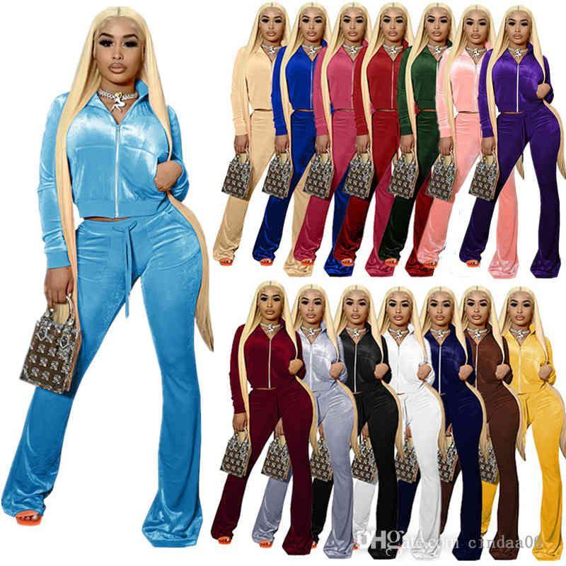 Kadınlar Kadife Eşofmanlar Katı 2 Parça Kıyafetler Fermuar Ön Cep Uzun Kollu Ceket + Çan Alt Geniş Bacak Pantolon Eşleştirme Set 15 Renkler