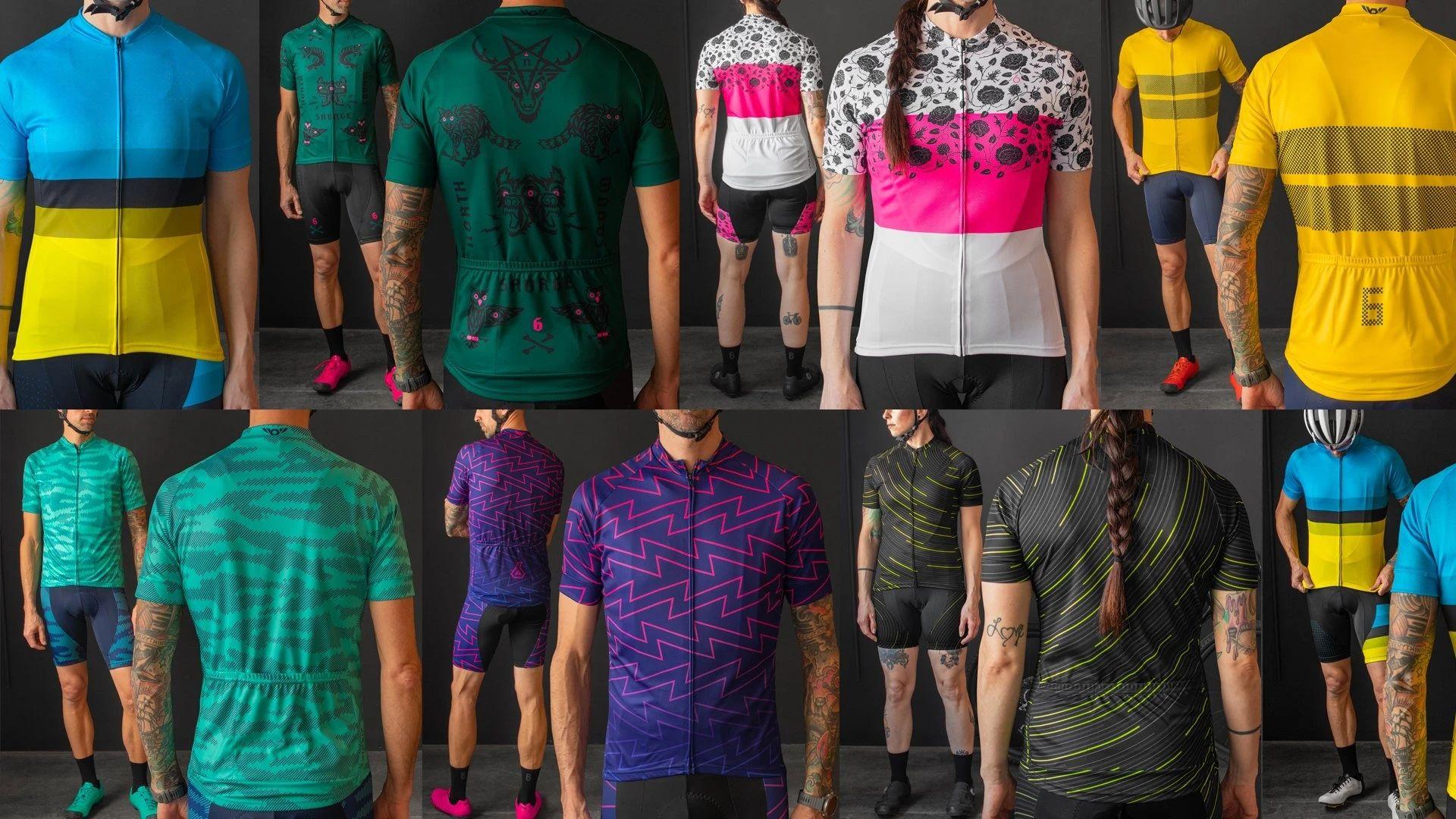 2021 Шесть про велосипедные команды с коротким рукавом Maillot Ciclismo Мужские велосипедные джерсиные наборы летние дышащие велосипедные наборы одежды