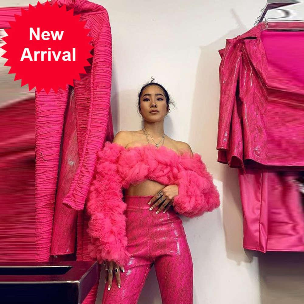 Mujeres atractivas Fucsia Tops con mangas largas Puffy volante tul Girls Party Form Formal Event Wear Celebrity Top Top