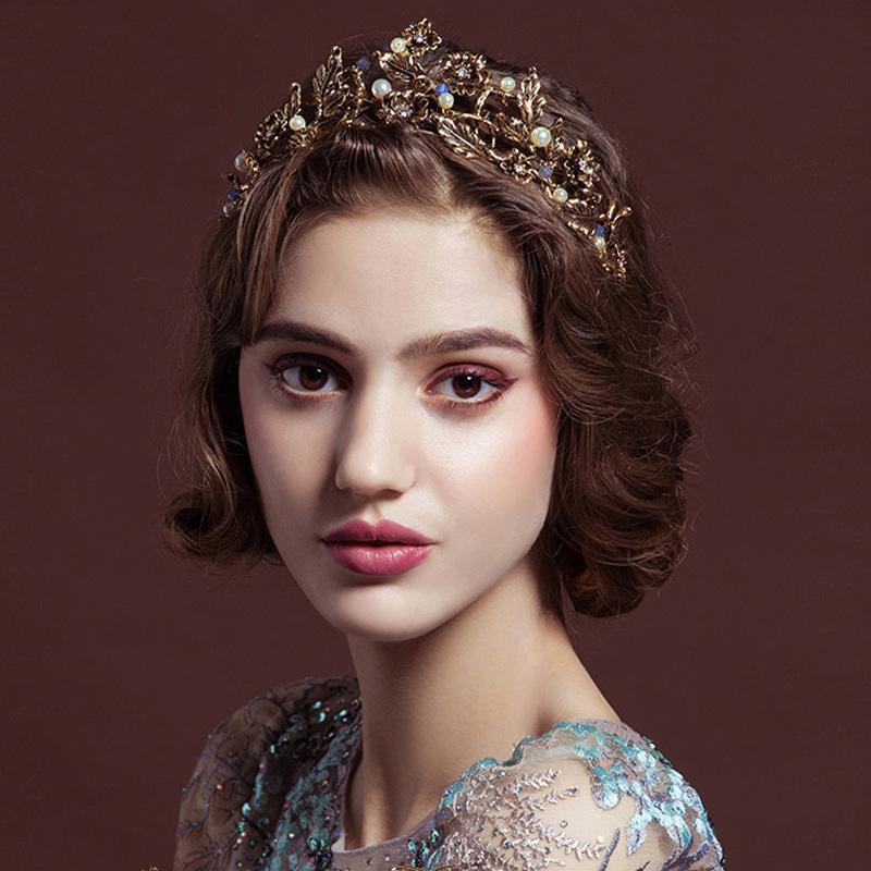 Vintage Barok Kristal Taç Altın Inci Yaprak Gelin Tiara Hairband Başlığı Vine Düğün Saç Aksesuarları Gelin Kafa Klipler Tailes