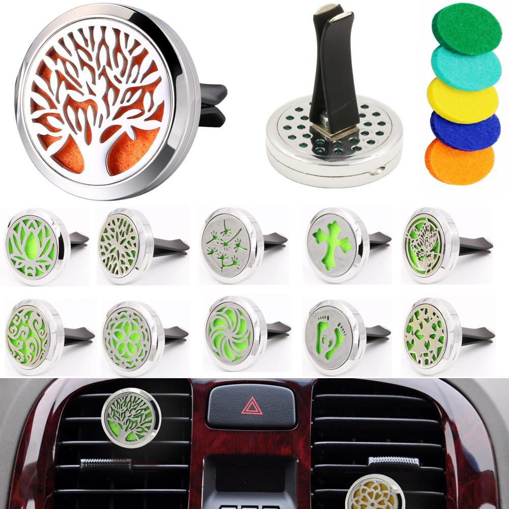 Aromatherapie Home Ätherisches Öl Diffusor Für Auto Lufterfrischer Parfüm Flasche Medaillon Clip mit 5 stücke Waschbare Filzkissen Duft Auto Innendekoration