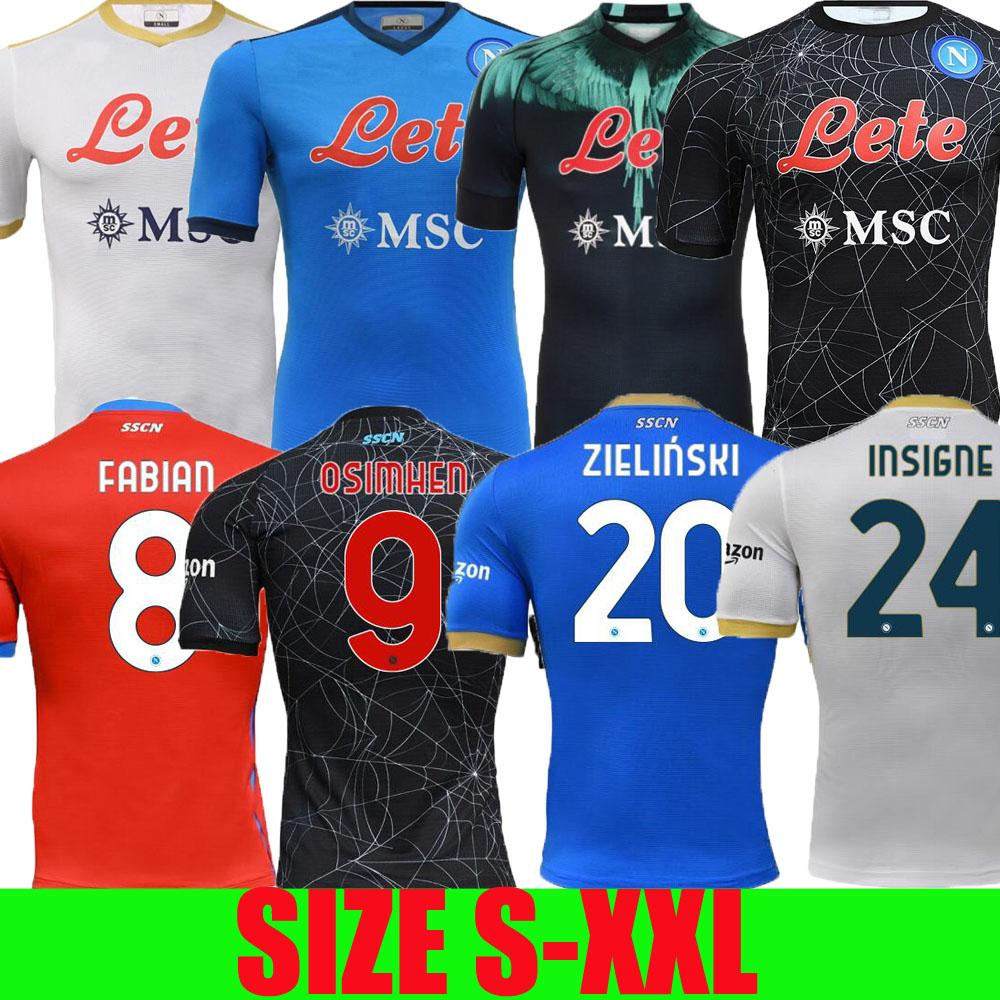 21 22 Maglie Napoli 축구 유니폼 할로윈 나폴리 축구 셔츠 2021 2022 osimhen koulibaly lozano camiseta de fútbol insigne maradona maillot elmas fabian tops