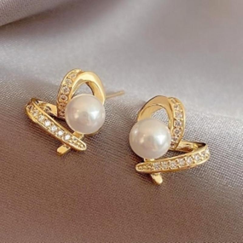 Stud Pearl 925 Silver Earrings 2021 Trend Exquisite Korean Fashion Diamond Inlaid Heart Three-dimensional Piercing Women Jewelry