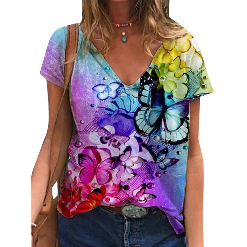 Kadın T-shirt Vicabo Bayan Tişörtleri V Boyun Kısa Kollu T Gömlek Kadın Yaz Kadın Giyim Çiçek Casaul Temel 2021
