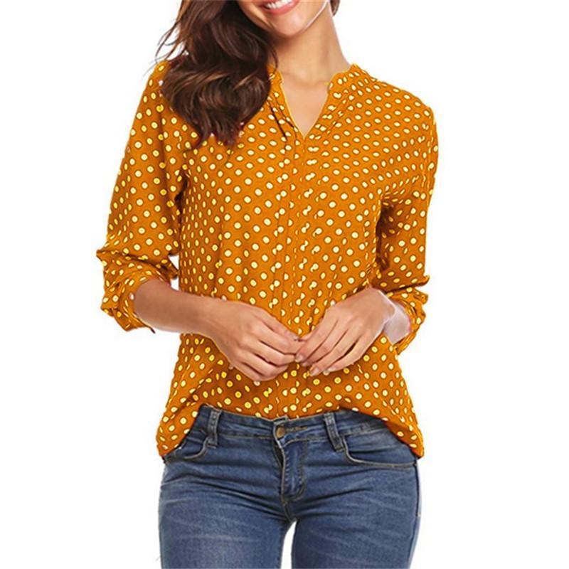 Polka Dot Sonbahar Bayan Tops Ve Bluzlar Moda Şifon Bluz Gömlek Kadın Tees Bayanlar Casual Gömlek Giysi Artı Boyutu 5XL Kadınlar
