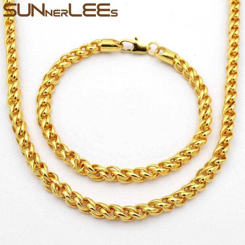 الأقراط قلادة sunnerlees الأزياء والمجوهرات روز لون الذهب سوار مجموعة 5 ملليمتر القمح نمط ربط سلسلة للرجال النسائية C61 S