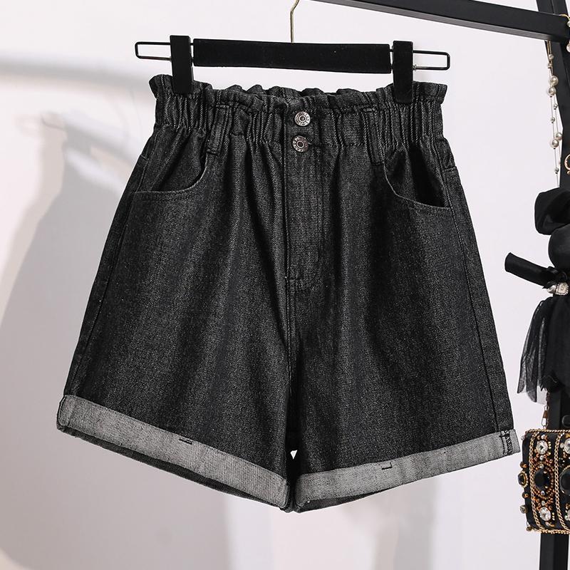 Zoki Fashion Denim Shorts Mujeres Negro Elástico Alto Pantalones vaqueros de cintura altos Sueltos Casual Slim Wide Lef A-Line Plus Tamaño Verano Mujeres