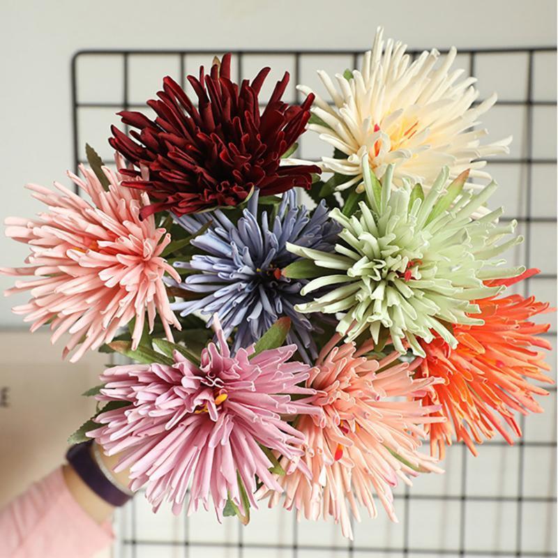 Crab Claw Chrysanthemum Имитация цветок Искусственные растения Ложные цветы Живые декоративные Холдины Поддельные для свадьбы 1 шт. Венки