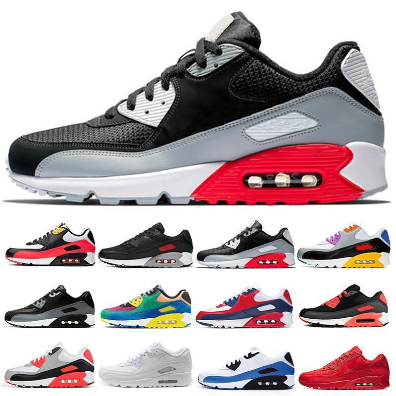 Air max 90 Sapatos Masculinos clássico 90 homens e uma mulher Shoes Almofada Black Red White instrutor ar na superfície respirável sapatos casuais 36-45 D74E