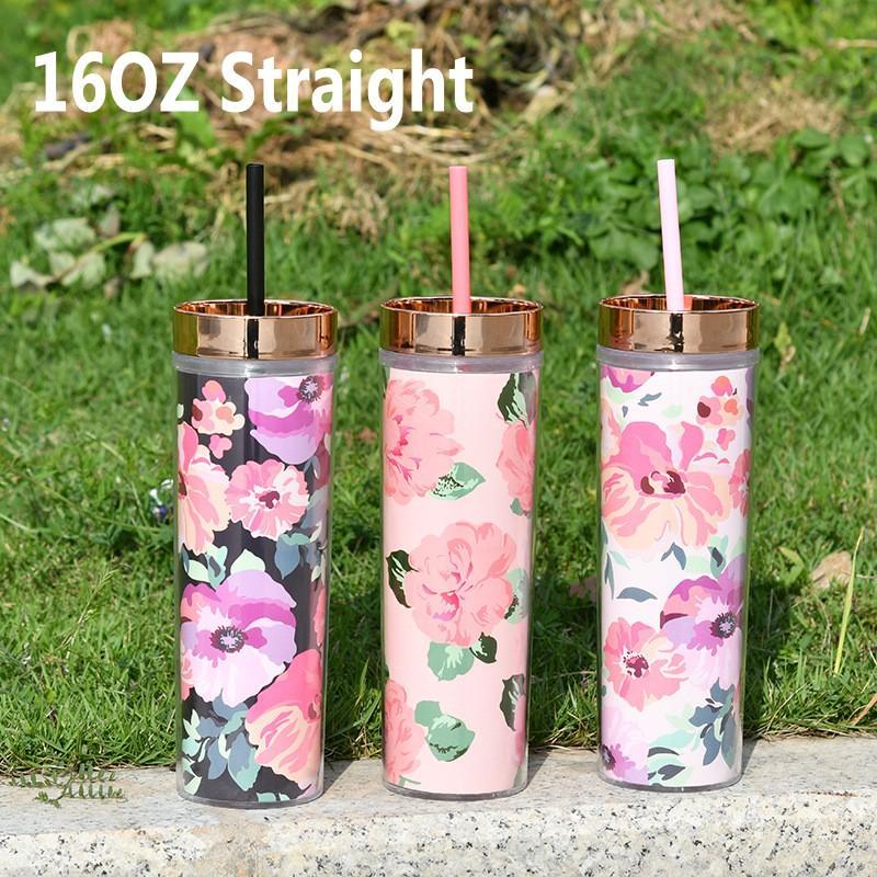 16oz reta dupla parede de plástico de plástico com tampa e palha 450ml flora flor imprimida xícaras de água caneca DHL Navio FY4608