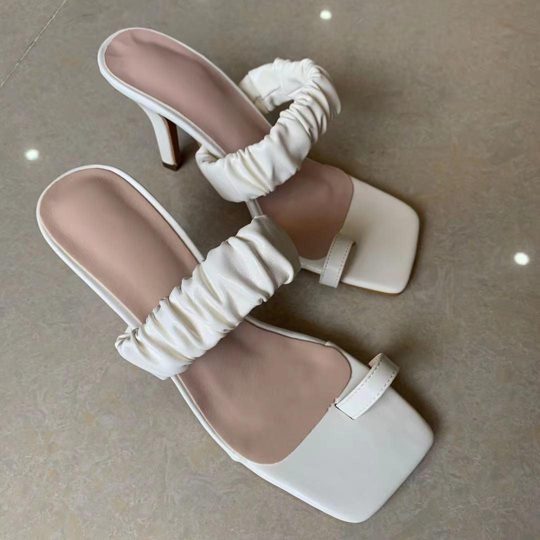 Summer Women Slippers Clip Toe Toe Plised PU Diapositivas de cuero femenino Tacones altos delgados 9cm Sandalias de moda para damas White Daily 210429