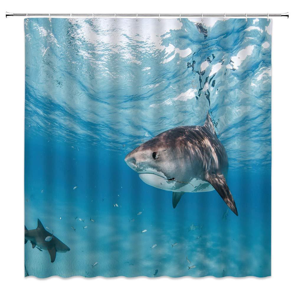 Shark Douche Rideau Décor Bleu Océan Mer Fish Marine Animal Animal Rideau Polyester Tissu Machine lavable avec crochets 70x84
