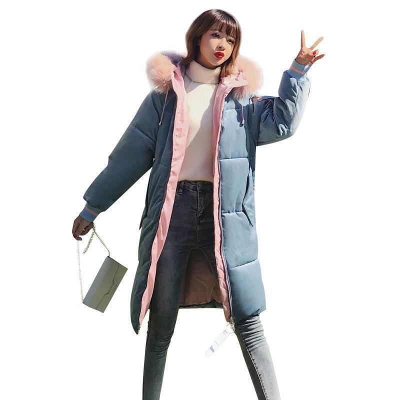 Kadın Aşağı Parkas Orta ve Uzun Altın Kadife Pamuk Yastıklı Giyim Kadın 2021 Kış Kore Gevşek Moda Kapüşonlu Büyük Yün Col