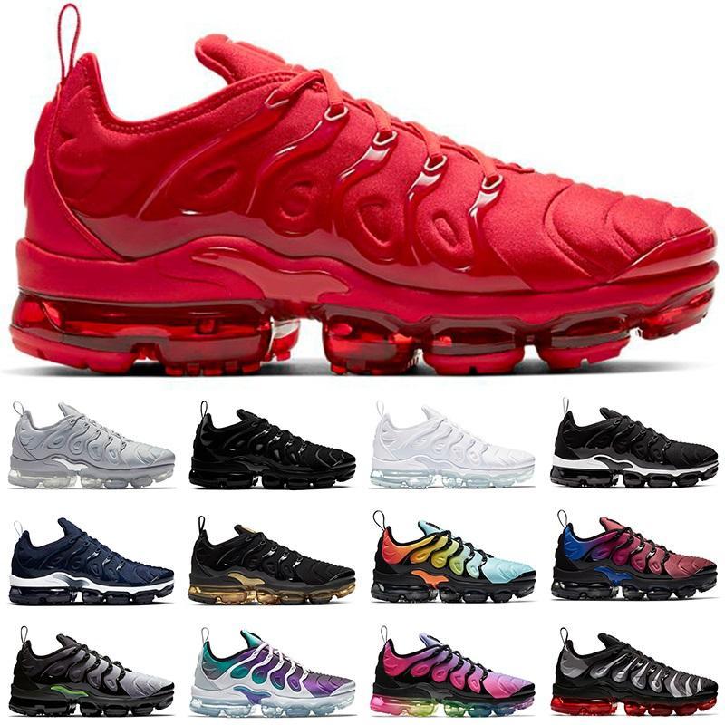 En Kaliteli TN Artı Erkekler Kadın Koşu Ayakkabıları Üçlü Beyaz Siyah DMP Altın Üzüm Hiper Mavi Turuncu Erkek Sneakers Spor Koşucular